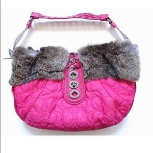Quilted coach bag with rabbit fur and silk lining.